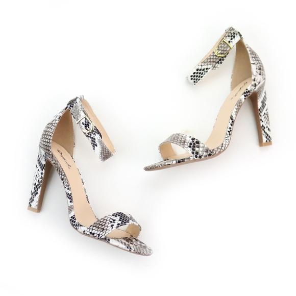 Black White Snake Print High Heels